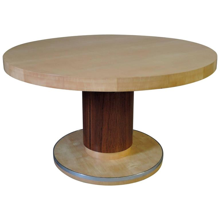 Fine Art Deco Round Dining Table By De Coene Possibility Of Center Leaves For Sale
