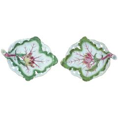 Georgian Period Chelsea Porcelain Pair of Tromp L'oeil Leaf Dishes with Tulips
