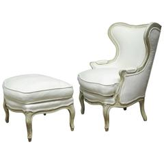 Louis XV Painted Wing Chair and Ottoman