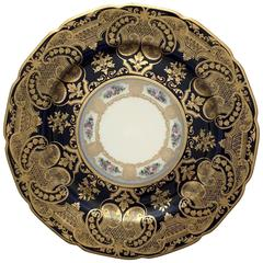 Set of 12 Cobalt and Gilt Limoges Dinner Plates in Arabesque Design, circa 1900