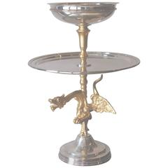 Antique Silver Plate Centerpiece Mounted on Gilt Bronze Griffin Stem Belgium