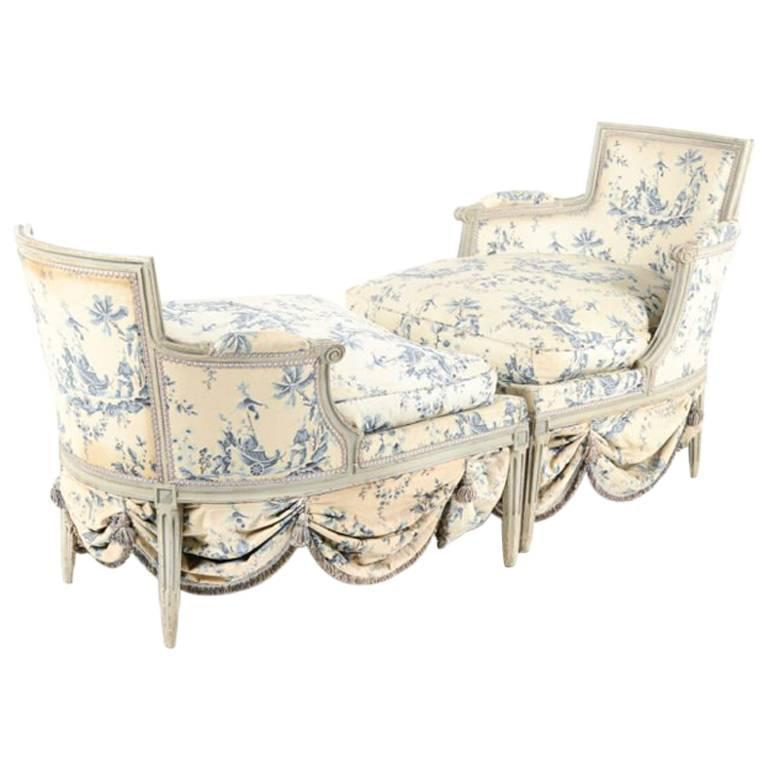 Chaise longue from france circa 1800 fabric by madeleine for Chaise longue france