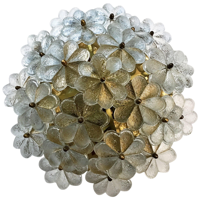 Austrian Earnst Palme Glass 1960s Floral Flush Light