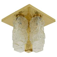 Brass and Ice Block Pillar-Form Flush Mounts by Hillebrand (5 Available)