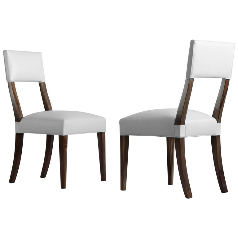 Luca High-Back Dining Chair from Costantini in Argentine Rosewood and Leather For Sale