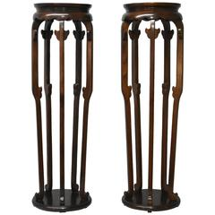 Pair of Burl Wood Plant Stands Designed by Michael Taylor for Baker Furniture