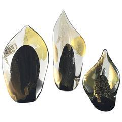 """Randy Strong """"Dichroic Flame"""" Art Glass Sculptures"""