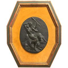 Austrian Erotic Bronze Plaque of Satyrs and Nymph