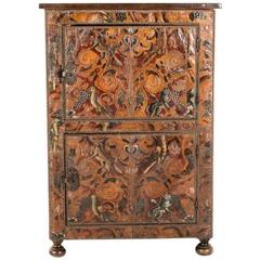 Two-Door Cabinet with 19th Century Hand Tooled Leather Covering
