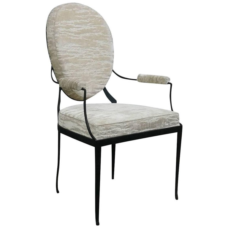 Andre Forged Iron and Upholstered Chair from Costantini, Customizable For Sale