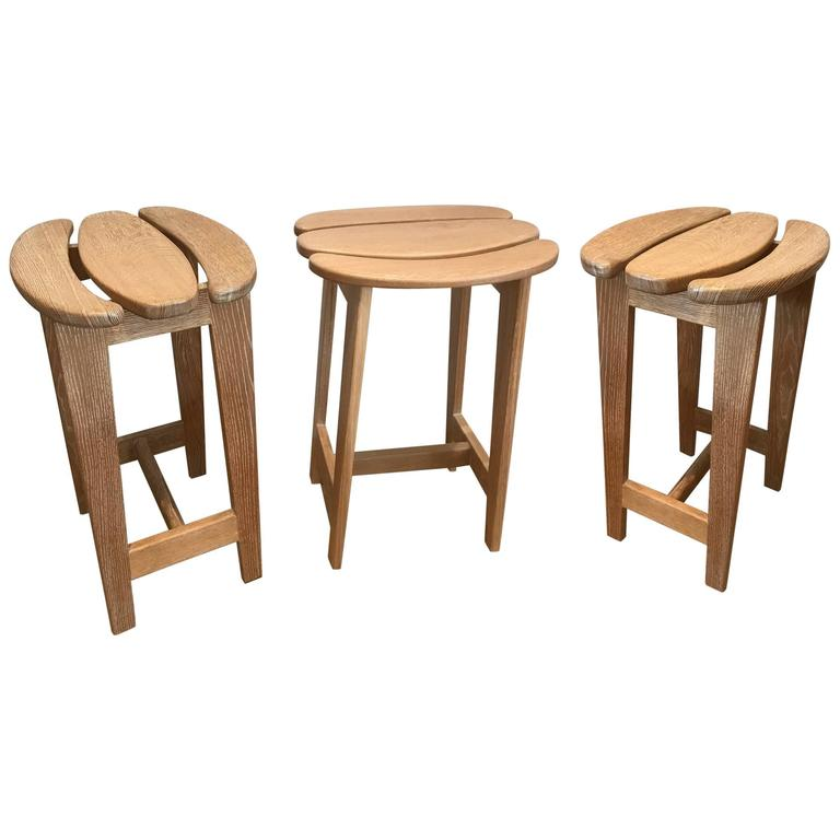 Set of Three Bar Stools by Guillerme et Chambron 1