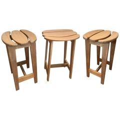 Set of Three Bar Stools by Guillerme et Chambron