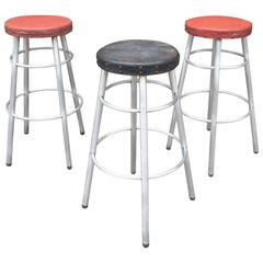 Set of Three Machine Age Tubular Aluminium Stools by Alcoa Aluminum Co