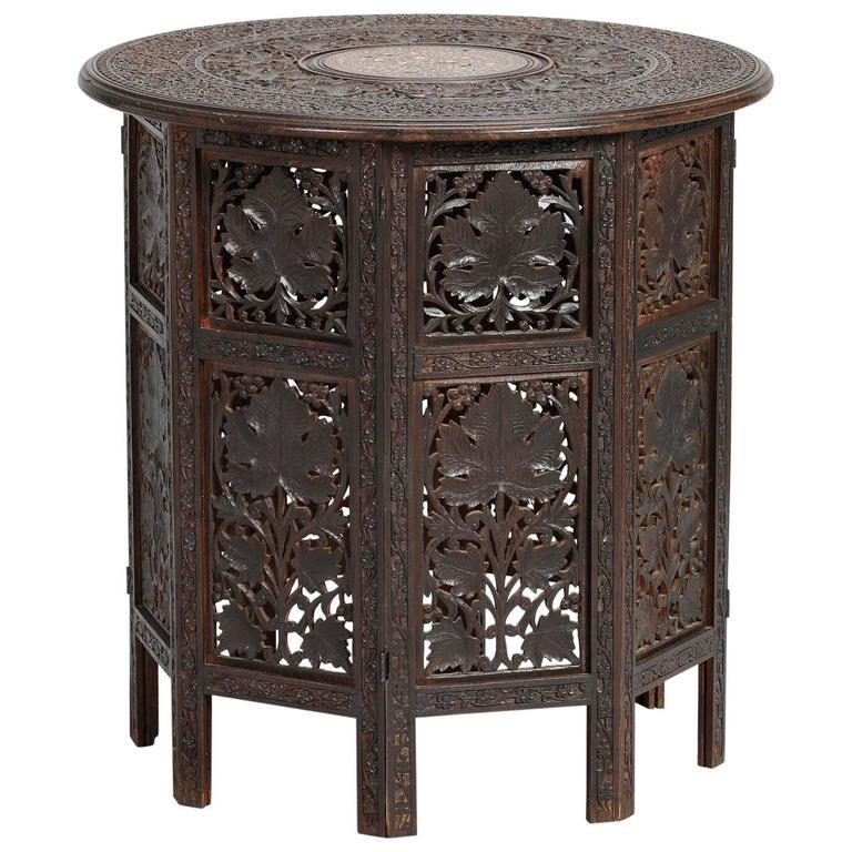 Ntricately Carved Moorish Side Table