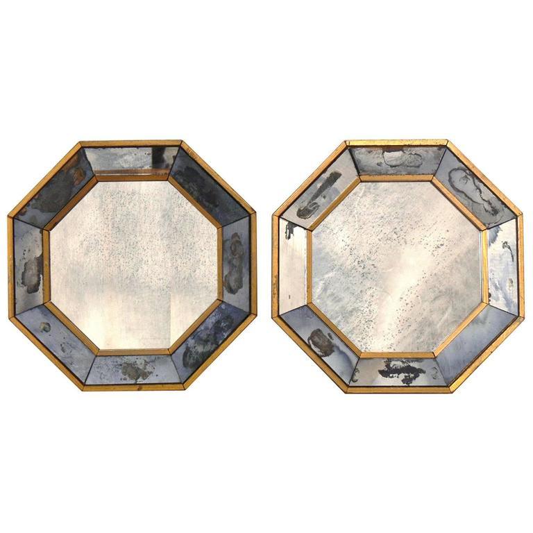Pair of Petite Antiqued Octagonal Mirrors