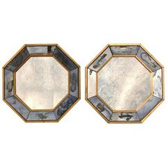 Pair of Petite Antiqued Octagonal Mirrors
