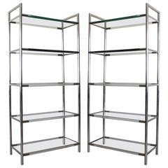 Pair of Chrome and Lucite Etageres