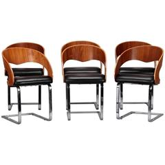 Mid-Century Set Six Beech Leather and Steel Chairs