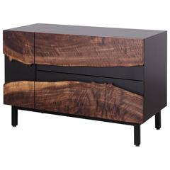 Summit Media Cabinet by Uhuru Design, Claro Walnut, Hand Blackened Steel