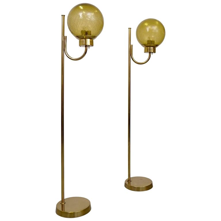 Pair of Brass Floor Lamps by Bergboms Model G-118 For Sale