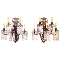Pair of Grande Victorian Bronze Wall Sconces