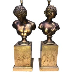 Pair of Bronze Bust Table Lamps