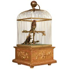 Late 19th Century Swiss Automation Singing Birds in Gilded Cage