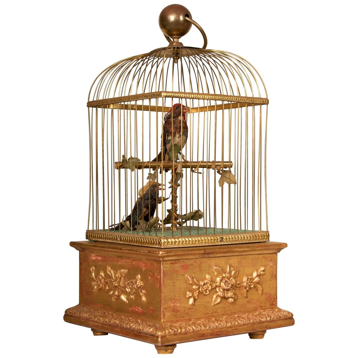 Late 19th Century French Automation Singing Birds in giltwood and brass cage  For Sale at 1stdibs