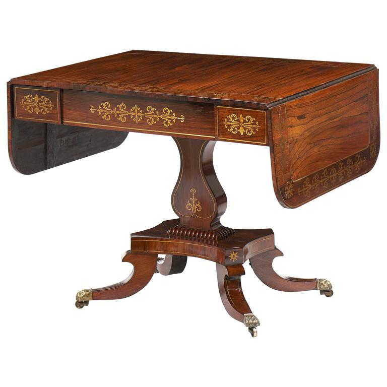 sofa tables for sale English Regency Rosewood Brass Inlaid Sofa Table Early 19th  sofa tables for sale