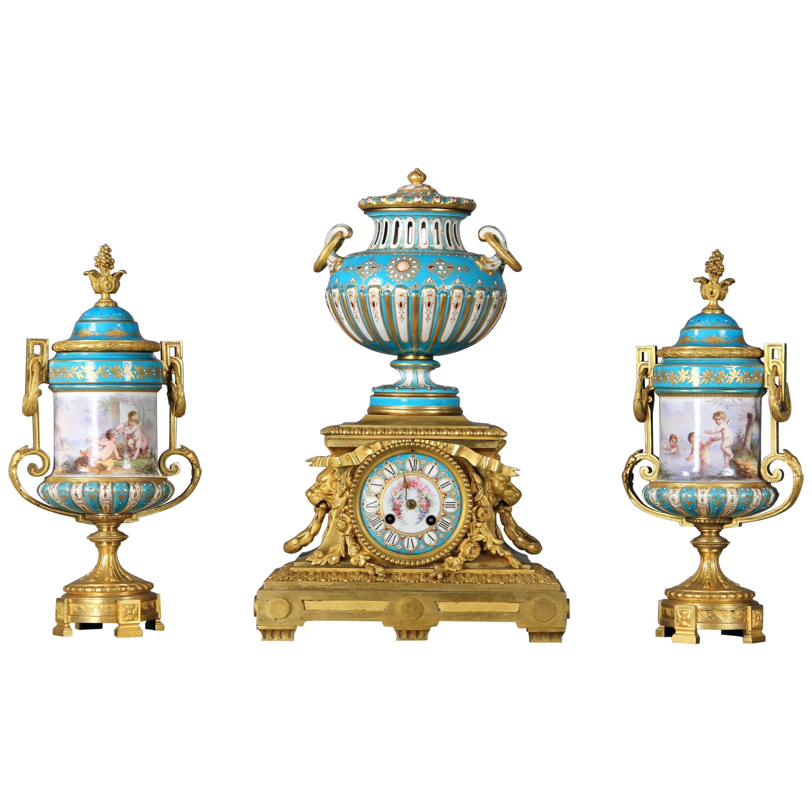 Late 19th Century Gilt Bronze and Turquoise Sèvres Porcelain 'Jeweled' Clock Set