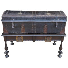 17th Century English Leather Travel Trunk on Later Stand