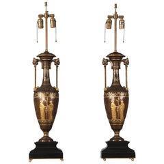 Wonderful Pair of Late 19th Century Bronze Lamps by Ferdinand Barbedienne