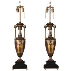 Wonderful Pair of Late 19th Century Bronze Lamps by Ferdinand Barbedienne