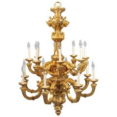 Important Late 19th Century Gilt Bronze Sixteen-Light Chandelier