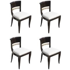 Suite of Four Art Deco Dining Chairs Macassar Ebony by Maurice Rinck, circa 1930