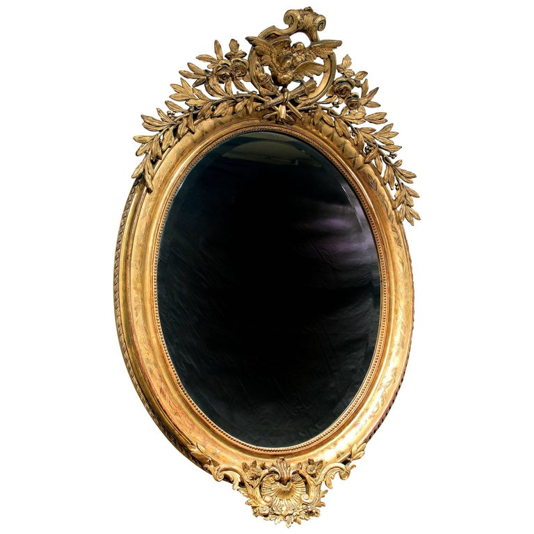 Fine Late 19th Century Carved Giltwood and Gesso Mirror For Sale
