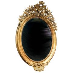 Fine Late 19th Century Carved Giltwood and Gesso Mirror