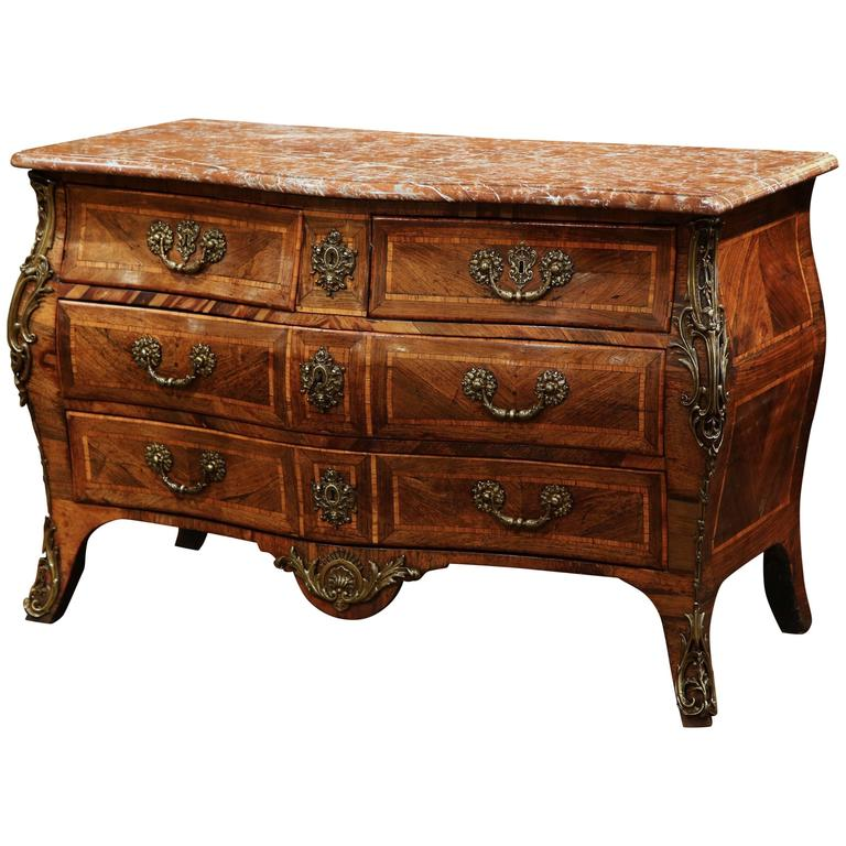 18th Century French Louis XV Walnut Inlay Bombe Commode Chest with Marble Top