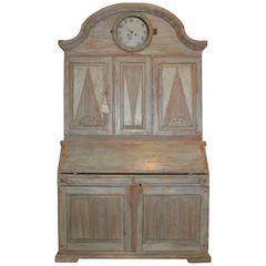 Period Swedish Rococo Clock Secretary