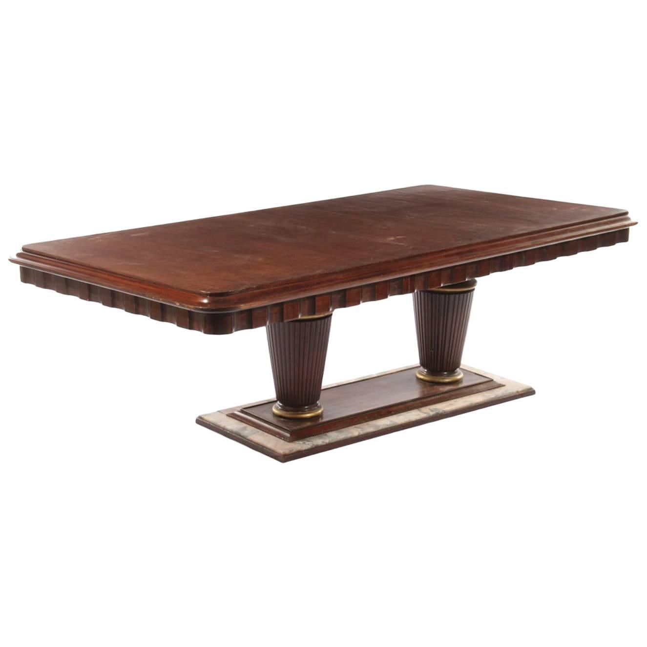 Mahogany And Marble Art Deco Dining Room Table, Circa 1935