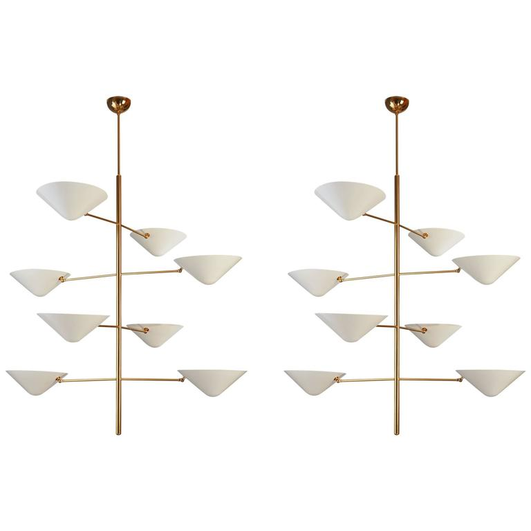 Impressive Pair of Tall Polished Brass and Enameled Metal Chandelier 1