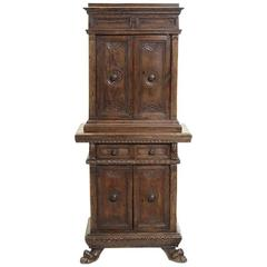 Italian Renaissance Style Carved Walnut Cabinet, 19th Century