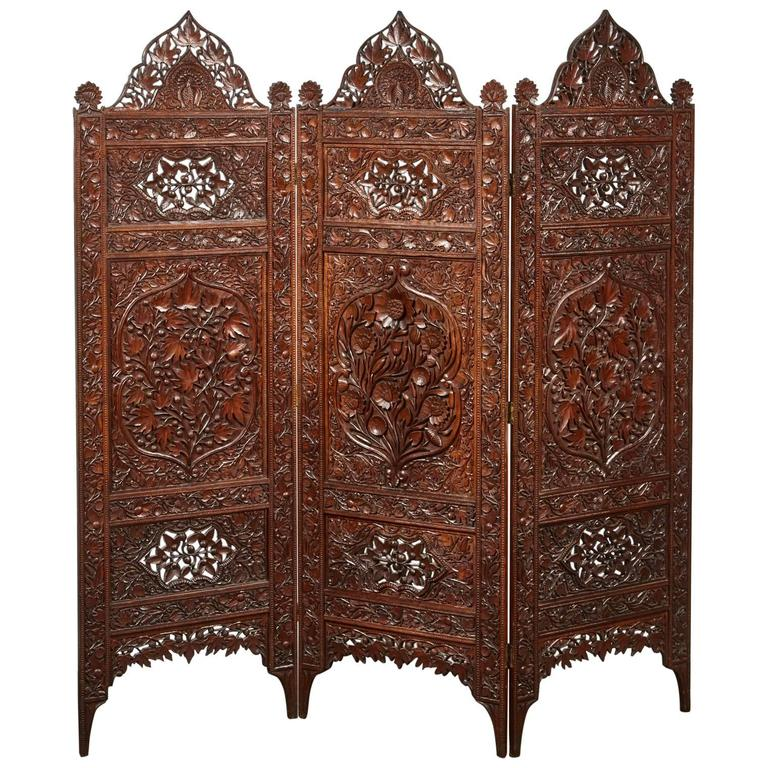 Three-Panel 20th Century Indian Carved Screens