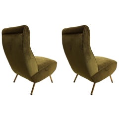 Rare Pair of Mid-Century Modern Triennale Lounge Chairs, Marco Zanuso Italy 1951