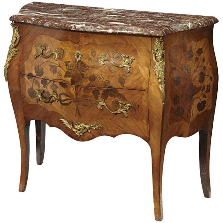 Louis XV Style Ormolu-Mounted Marquetry Walnut Commode, 19th Century