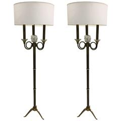 Iconic Pair of French Modern Neoclassical Floor Lamps by Jules Leleu, 1939
