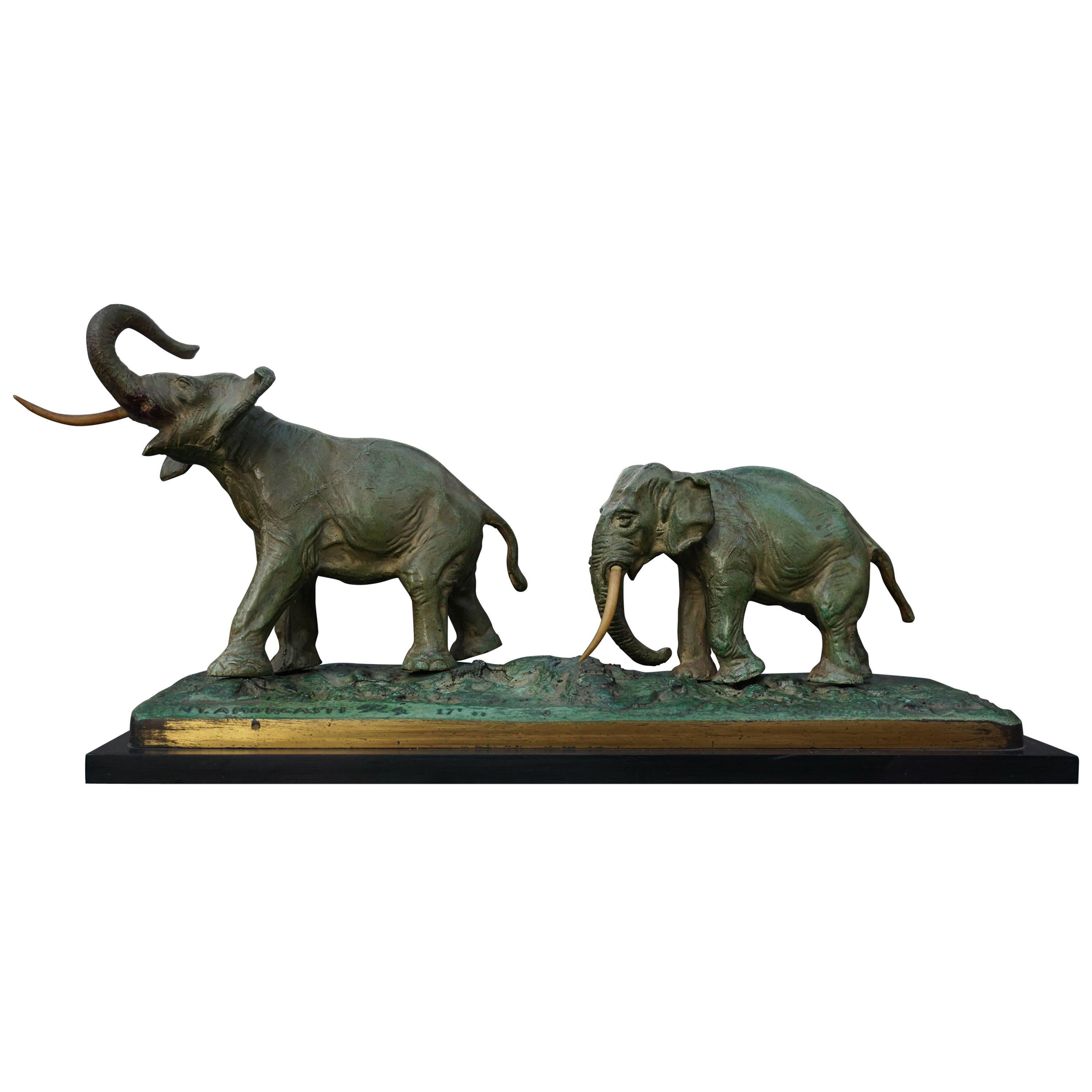 Early 20th Century Bronze Sculpture of Elephants