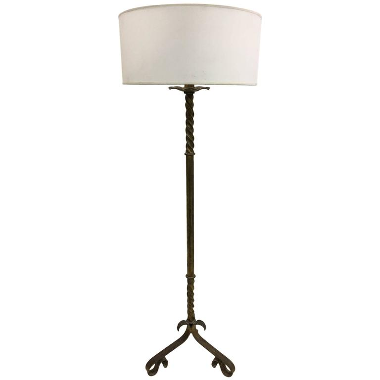 Elegant French Mid-Century Gilt Wrought Iron Floor Lamp, 1940