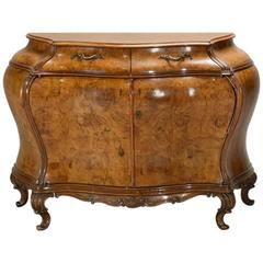 Venetian Rococo Style Burl Walnut Veneered Commode Cabinet, circa 1900