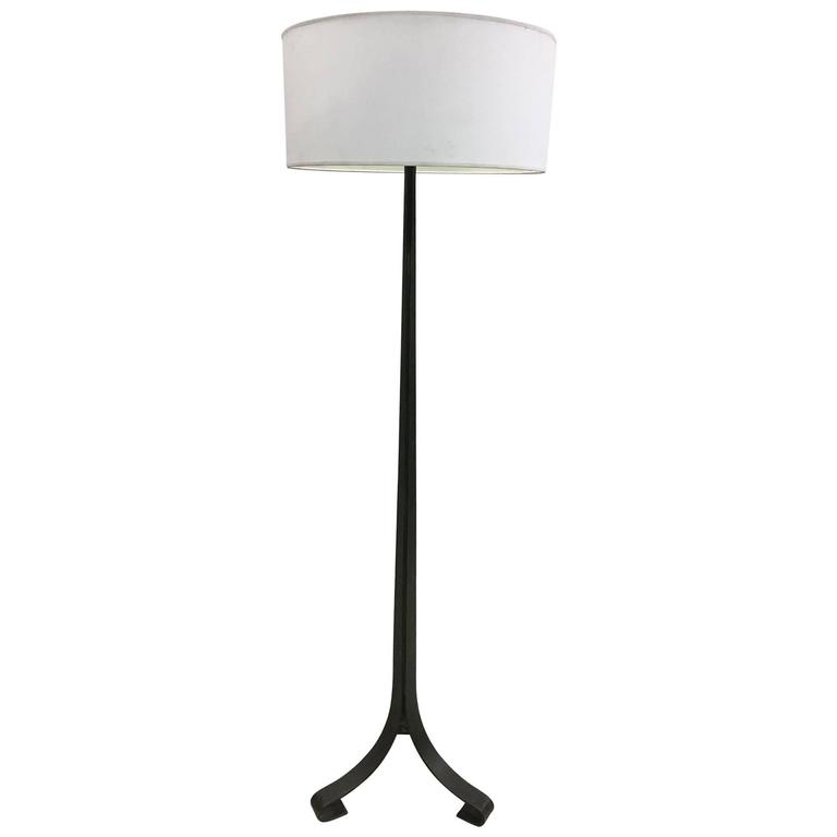 French Mid-Century Floor Lamp in Bronzed Iron by Maison Ramsay, 1940